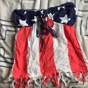 American flag strapless top